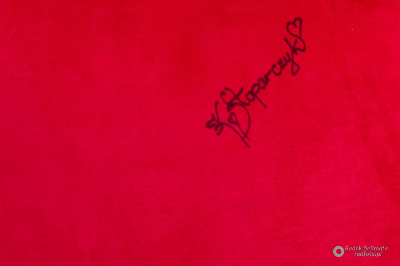 Autograf Katarzyny Stoparczyk na festiwaloym fotelu.